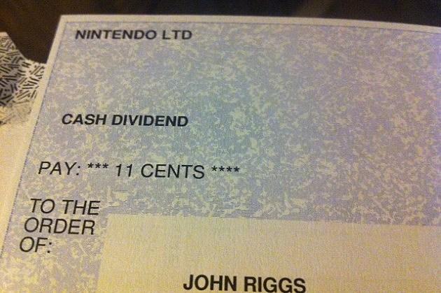 nintendo cash dividend