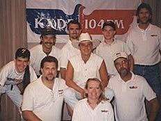 "KXDD crew circa 1986. From left: me, Keith Danson, Joe, Russ Wathen, Dewey Boynton, the late Curt ""Hutch"" Hutchinson, Lia Knight, country superstar Kenny Chesney and Brian Stephenson"